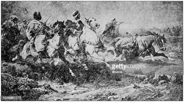 Antique painting illustration: Arab Cavalry battle