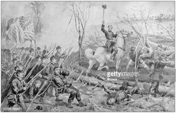 antique painting illustration: attack on fort donelson - american civil war battle stock illustrations