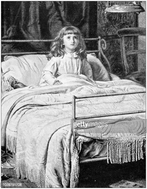 Antique painting illustration: Awake girl