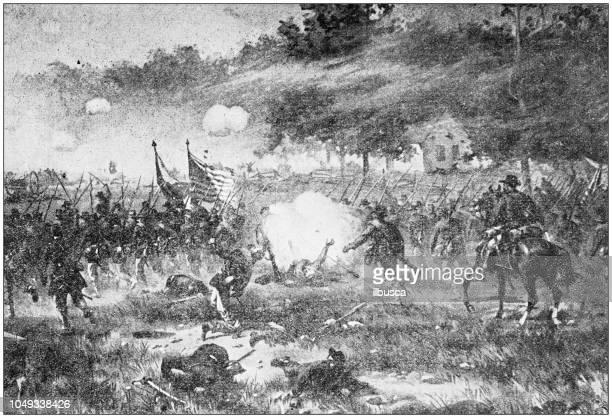 antique painting illustration: battle of antietam - american civil war battle stock illustrations
