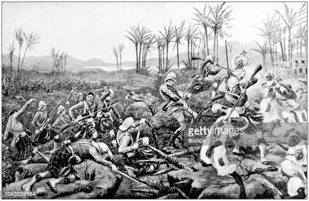 Antique painting illustration: Battle of Atbara