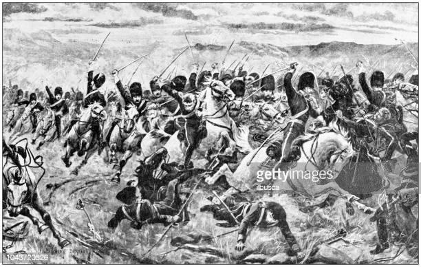 Antique painting illustration: Battle of Balaclava