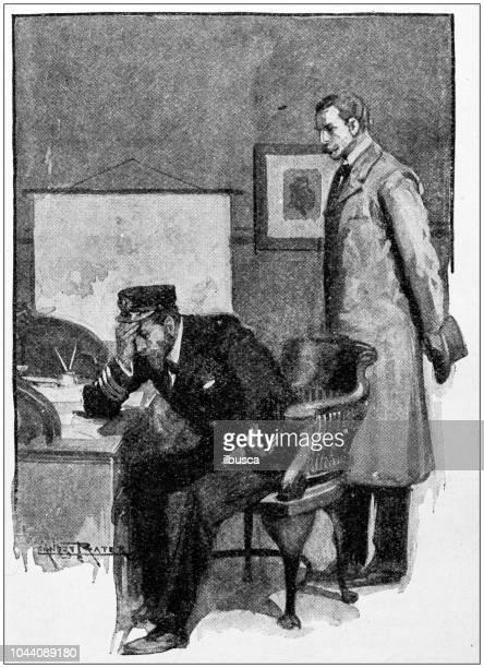 antique painting illustration: desperate captain - confession law stock illustrations