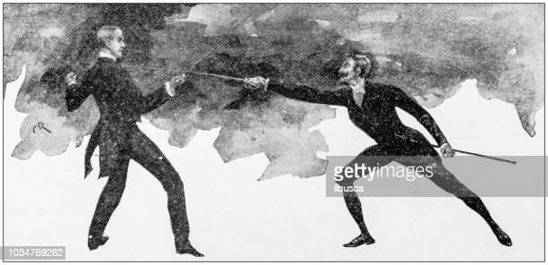 antique painting illustration: elegant fencing - dueling stock illustrations, clip art, cartoons, & icons