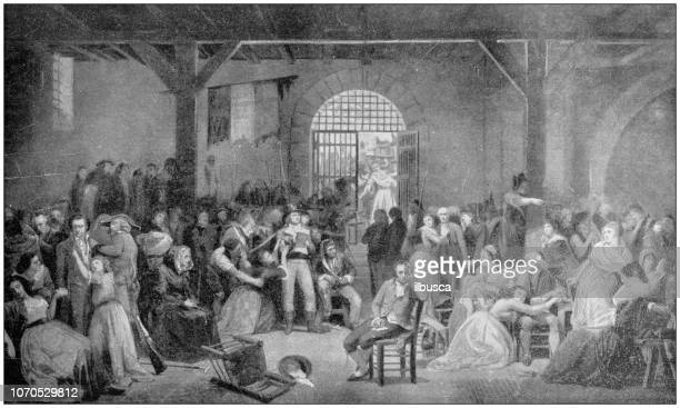 antique painting illustration: last victims of the reign of terror - terrorism stock illustrations