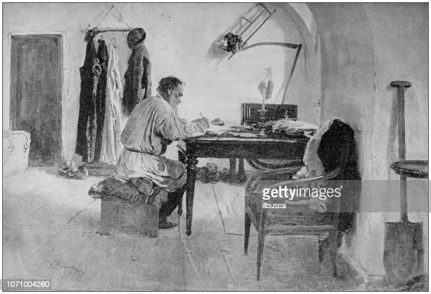 Antique painting illustration: Leo Tolstoy