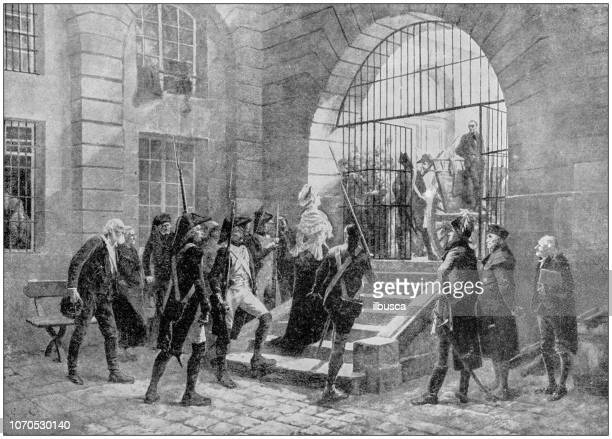 Antique painting illustration: Marie Antoinette led to execution