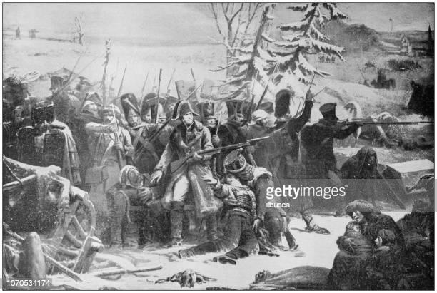 antike malerei illustration: marschall ney rückzug aus russland - russland stock-grafiken, -clipart, -cartoons und -symbole