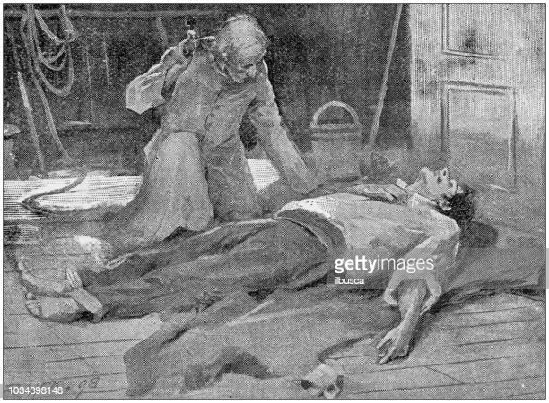 antique painting illustration: men on ship - sick stock illustrations, clip art, cartoons, & icons