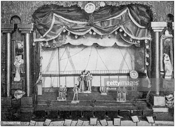 antique painting illustration: model theatre - theater industry stock illustrations, clip art, cartoons, & icons