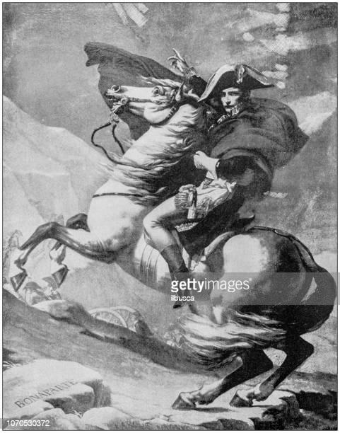illustrazioni stock, clip art, cartoni animati e icone di tendenza di illustrazione pittorica antica: napoleone che attraversa le alpi - napoleone