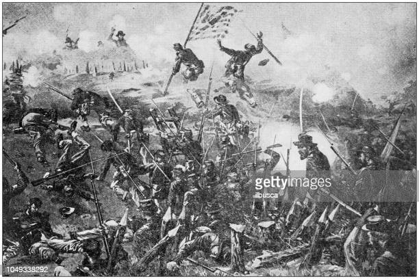 antique painting illustration: siege of vicksburg - american civil war battle stock illustrations