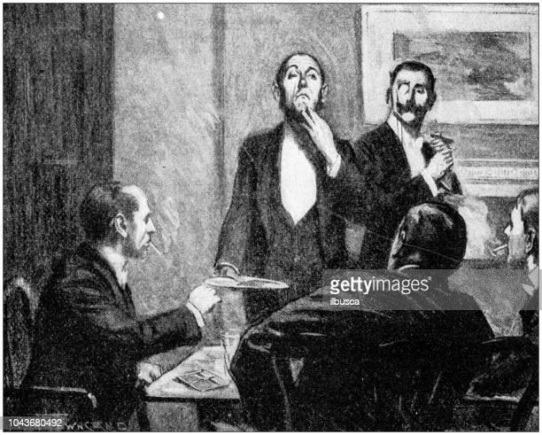 antique painting illustration: telegram - butler stock illustrations, clip art, cartoons, & icons