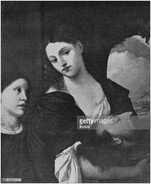 antique painting illustration: the daughter of herodias by titian - tiziano vecellio stock illustrations, clip art, cartoons, & icons