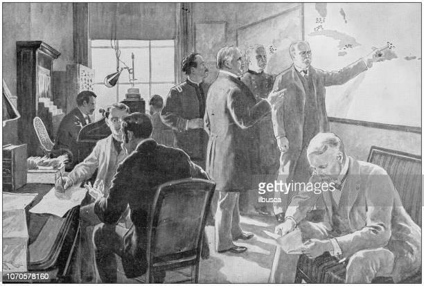 antique painting illustration: war room in washington - office fight stock illustrations, clip art, cartoons, & icons