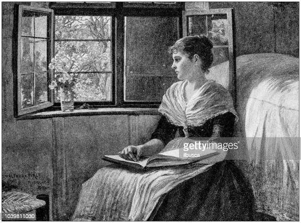 Antique painting illustration: Woman reading