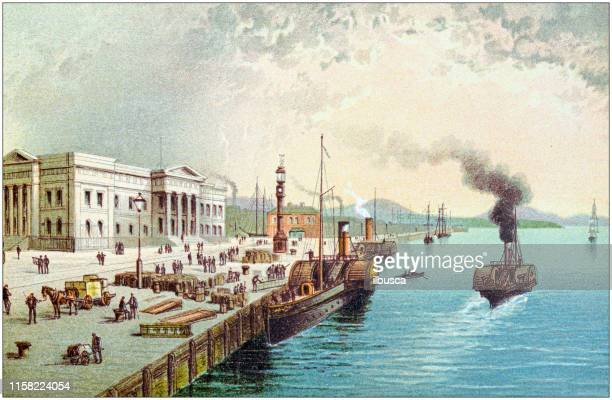 Antique painting of Scotland cities, lakes and mountains: Custom house quay, Greenock