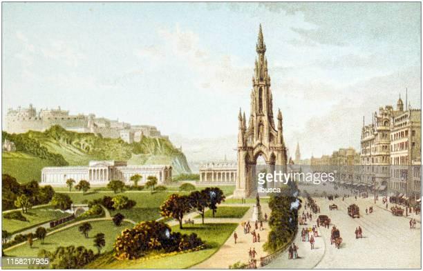 スコットランドの都市、湖、山のアンティーク絵画:エジンバラ、プリンセスストリート、ウォルター・スコット卿の記念碑 - プリンシズ通り点のイラスト素材/クリップアート素材/マンガ素材/アイコン素材