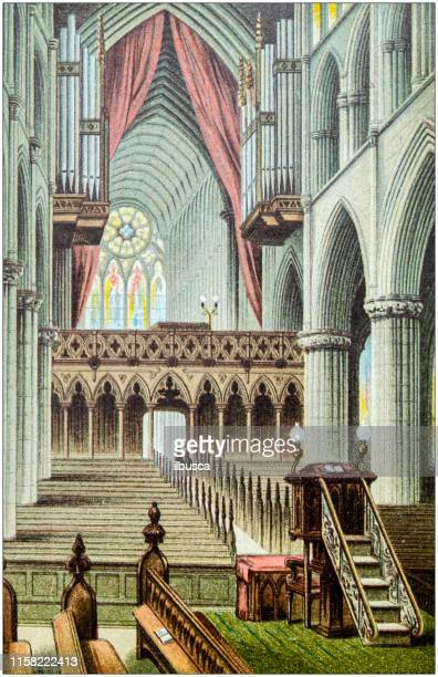 antique painting of scotland cities, lakes and mountains: glasgow cathedral - nave stock illustrations
