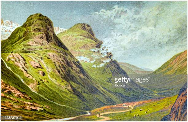 antique painting of scotland cities, lakes and mountains: pass of glencoe - glen coe stock illustrations, clip art, cartoons, & icons