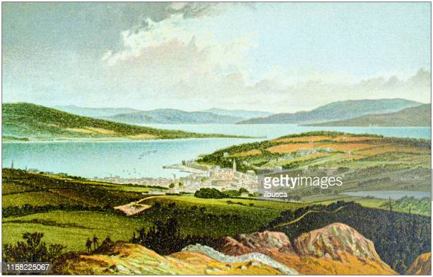 antique painting of scotland cities, lakes and mountains: rothesay - clyde river stock illustrations, clip art, cartoons, & icons