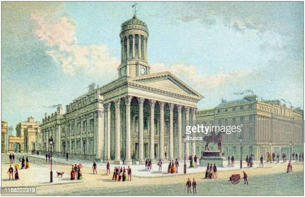 antique painting of scotland cities, lakes and mountains: royal exchange, queen street, glasgow - vintage stock stock illustrations