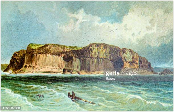 antique painting of scotland cities, lakes and mountains: staffa - isle of staffa stock illustrations, clip art, cartoons, & icons