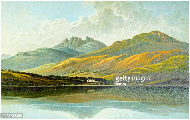 antique painting of scotland cities, lakes and mountains: tarbet and the cobbler, loch lomond - scottish culture stock illustrations