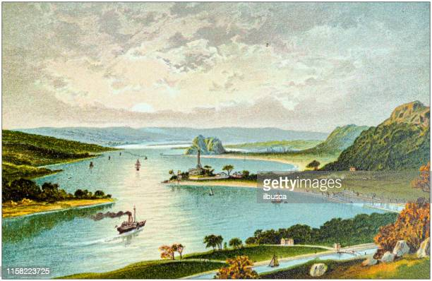 antique painting of scotland cities, lakes and mountains: the clyde from dalnotter hill - clyde river stock illustrations, clip art, cartoons, & icons