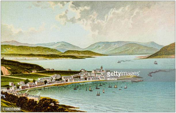 antique painting of scotland cities, lakes and mountains: the clyde from gourock - clyde river stock illustrations, clip art, cartoons, & icons