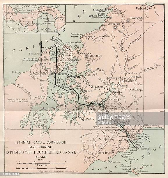 antique Panama Canal map