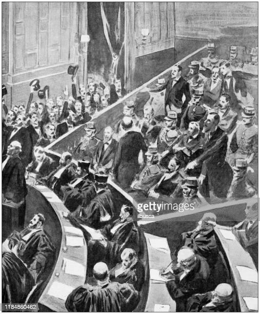 illustrazioni stock, clip art, cartoni animati e icone di tendenza di foto antica: parlamento dell'alta corte francese - parlamento