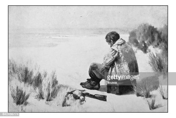 Antique photo of paintings: Alone on the beach
