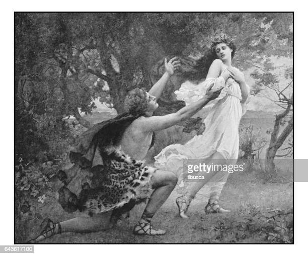 antique photo of paintings: apollo and daphne - greek gods stock illustrations, clip art, cartoons, & icons