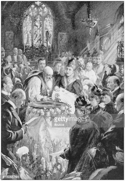 antique photo of paintings: baptism of prince albert of york - baptism stock illustrations