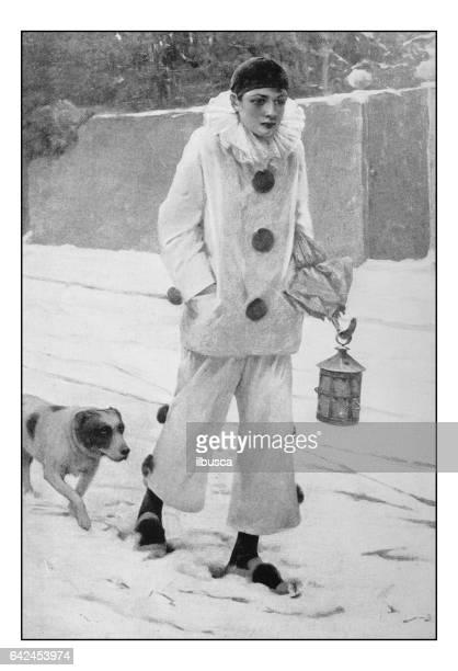 Fotos antiguas de pinturas: muchacho con traje de Pierrot