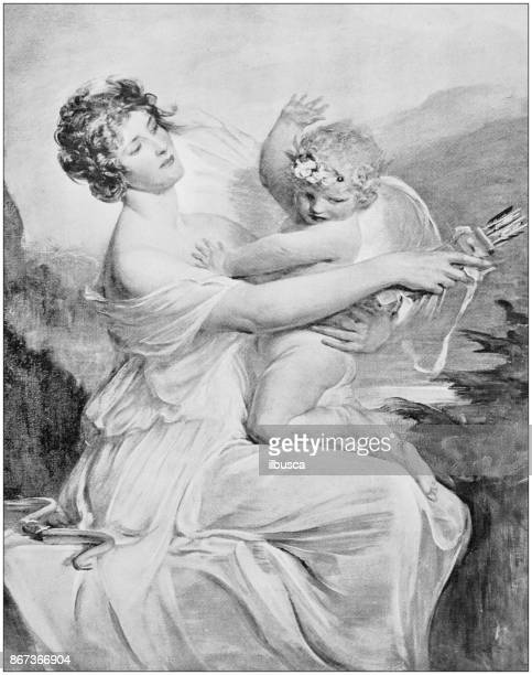 antique photo of paintings: captive cupid - greek mythology stock illustrations, clip art, cartoons, & icons