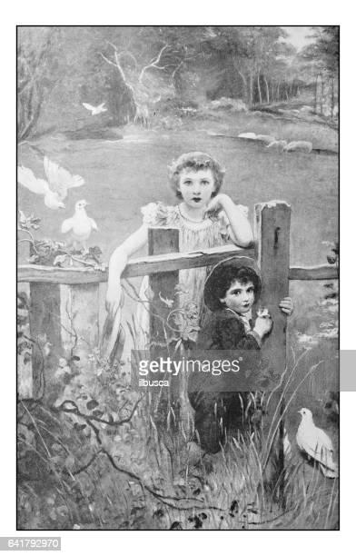 絵画のアンティーク フォト: 屋外の子供たち - 1800~1809年点のイラスト素材/クリップアート素材/マンガ素材/アイコン素材