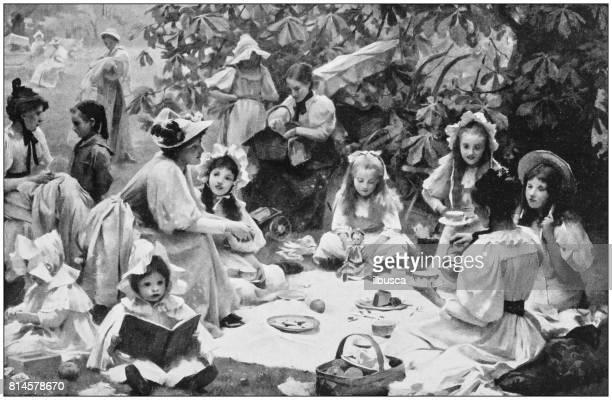 Antieke foto schilderijen: Kinder picknick