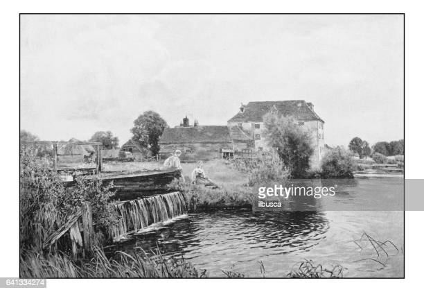 Antique photo of paintings: Couple and dam