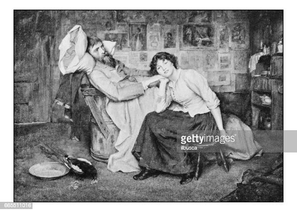 antique photo of paintings: couple - death photos stock illustrations