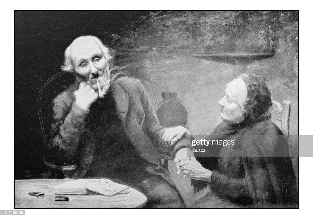 Antique photo of paintings: Couple portrait : stock illustration