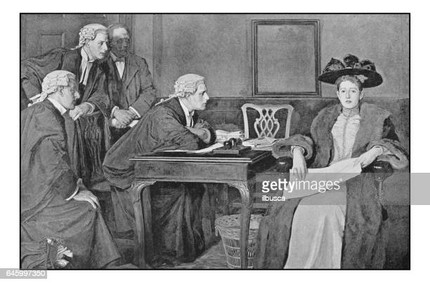 Antique photo of paintings: Defendant and counsel