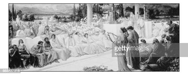 Antique photo of paintings: Disciples of Sappho