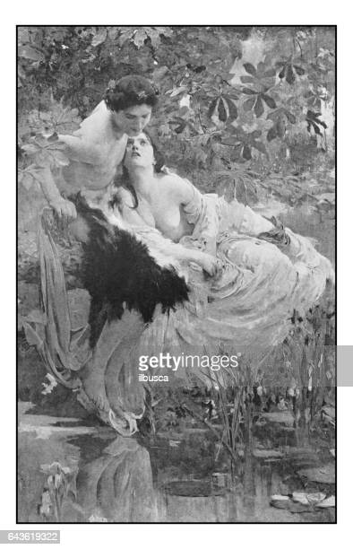 antique photo of paintings: echo and narcissus - mythological character stock illustrations, clip art, cartoons, & icons