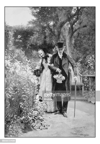 Antique photo of paintings: Elderly couple