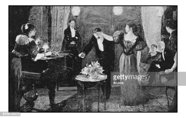Antique photo of paintings: Elegant party