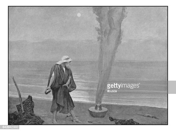 Antique photo of paintings: Fisherman and Djinn
