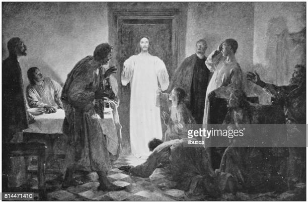 antike fotos von gemälden: jesus aussehen - öffentlicher auftritt stock-grafiken, -clipart, -cartoons und -symbole
