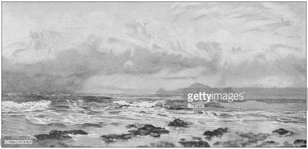 antique photo of paintings: landscape - seascape stock illustrations, clip art, cartoons, & icons